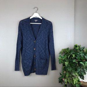J. Jill Navy Chunky Button Knit Tunic Cardigan